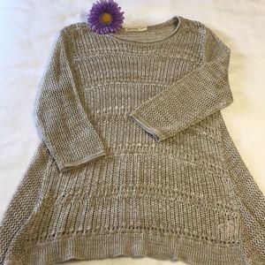 Acrylic Sweater, tan & cream